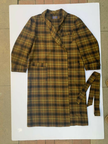 Pendleton XL Wool Plaid Bathrobe Black/Brown Tarta
