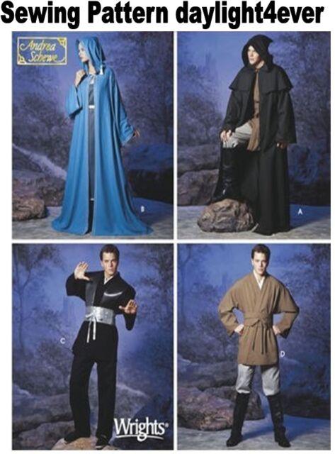Men Women Teen Star Wars Jedi Cloak Cape Costume Sewing Pattern 5840 ...