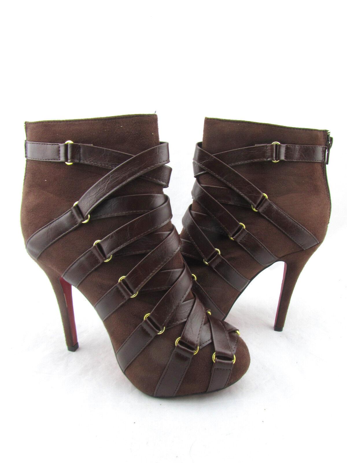 liliana jones Marron   Marron faux suède - bottes en cuir chaussures à lan iè r es d e végétarien 8,5 9d57ba