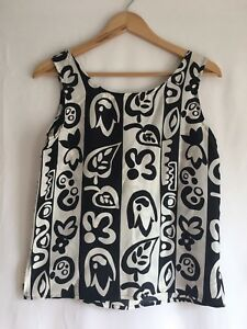 The-Limited-Women-039-s-100-Silk-Black-White-Floral-Print-Sleeveless-Top-Size-S