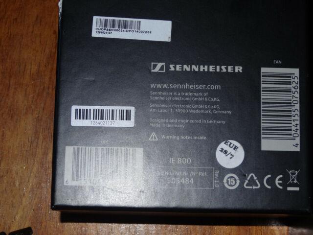 Genuine Sennheiser IE 800 Earbuds Cable Headphones - Black