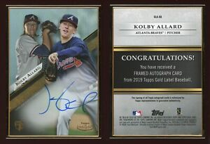 2019 Topps Gold Label Kolby Allard Framed Auto RC #GLA-KA Atlanta Braves Rookie