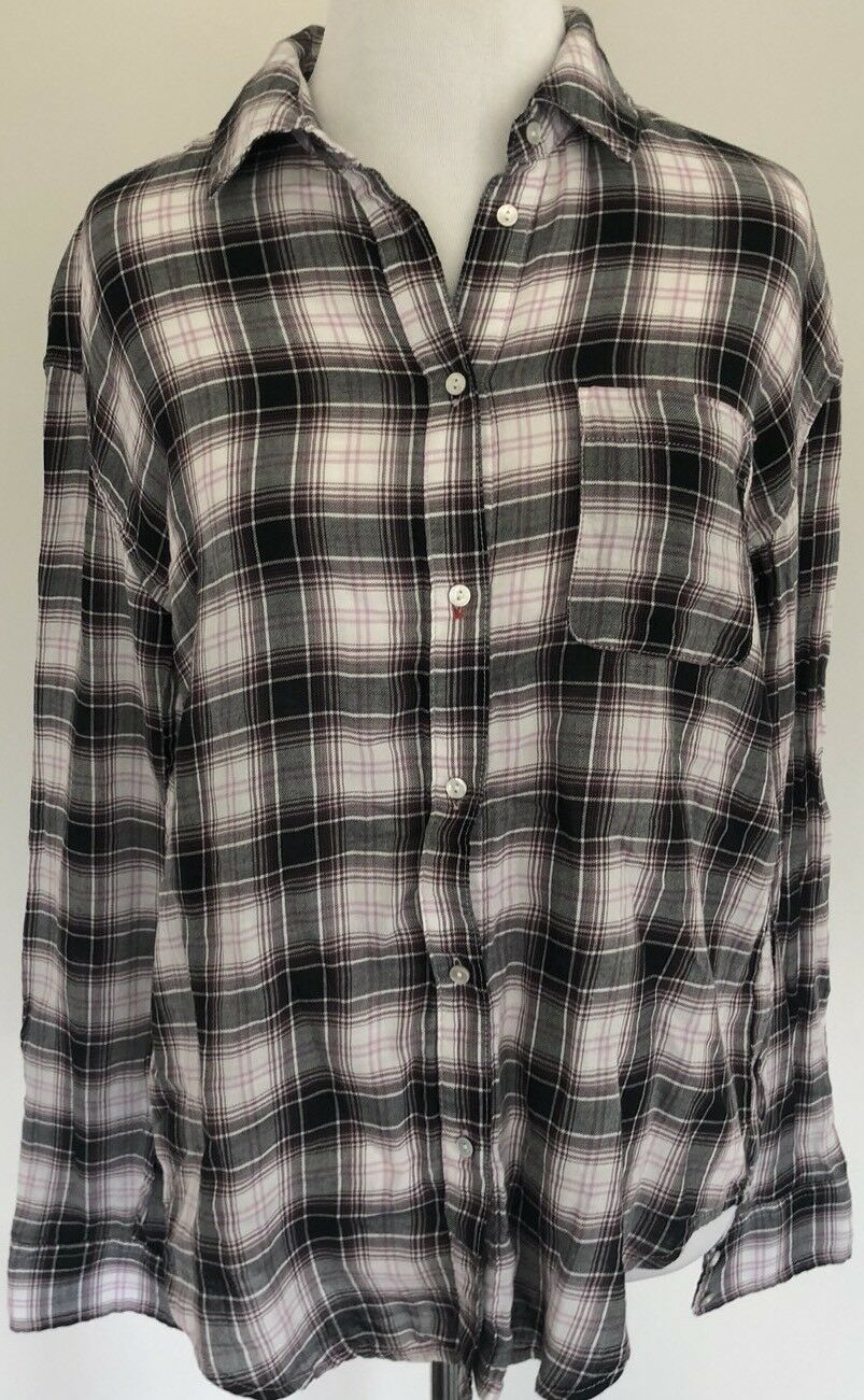 Elizabeth and James Plaid Button Down Blouse - Größe XS