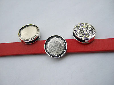 10 Anti-Silver Blank Bezel Cabochon Setting Slider Spacer For 10mm Flat Leather