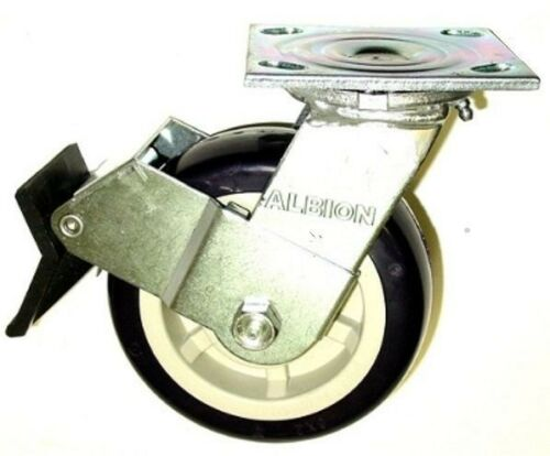"Cap 6-1//2/"" OAH with Brake Swivel Plate Caster 5/"" x 2/"" Polyurethane Wheel 800lbs"