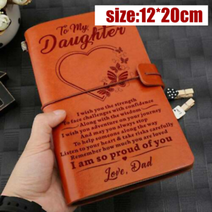 To My Daughter Love Dad Engraved Leather Journal Notebook Gifts Present