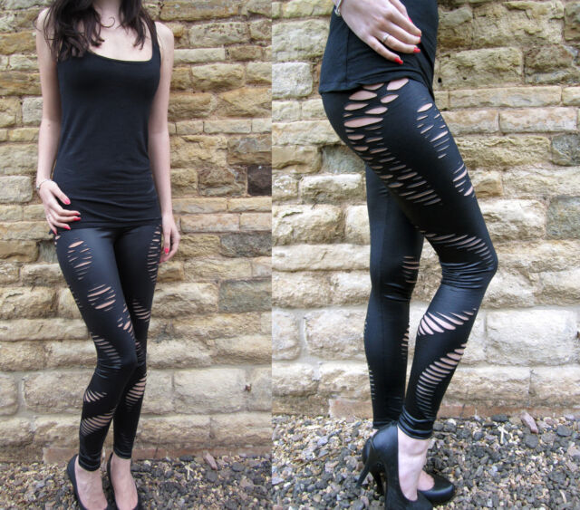 Wet Look sexy Ripped Slashed Leggings BLACK   8 - 18