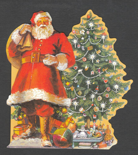 TRADITIONAL TREE SANTA TOYS GREETING VICTORIAN CARD EMBOSSED UK PAPER DOUBLE