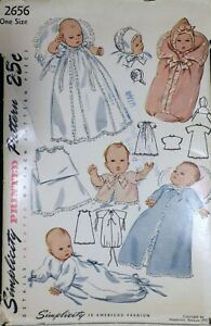 Vtg 1940s Simplicity 2656 Baby Layette Clothes Christening Dress SEWING PATTERN