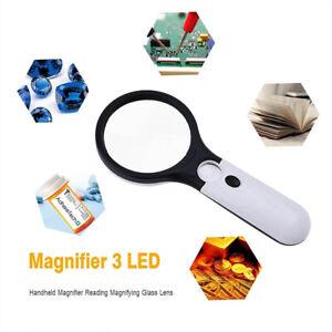 45X-Fach-Lupe-Leselupe-Juwelierlupe-Handlupe-mit-3-Led-Licht-Vergroesserungsglas
