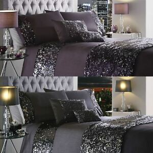 Luxury Sequin Duvet Quilt Cover Bedding Set Dazzle New Ebay