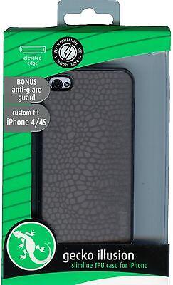 Gecko Gear Illusion Slimline Case iPhone 4 4S Grey with Bonus Screen Protector