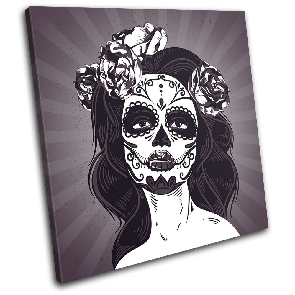 Day of the Dead Girl Illustration SINGLE TELA parete arte foto stampa