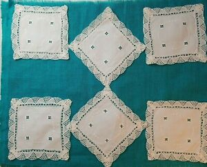 6 Vintage White Square Crochet Linen Embroidered Lacey Doily Lot Diamond 6.25""