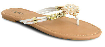 Ladies Toe Post Diamante Leather Look Sandals Shoes Summer Holiday