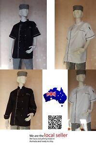 Quality-Modern-Lightweight-Chef-Jacket-Black-White-Long-Short-Sleeve-S-M-L-XL