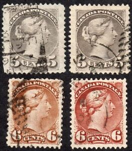 Canada-well-centered-5-amp-6-cent-Small-Queens-Scott-42-amp-43-Used-F-VF