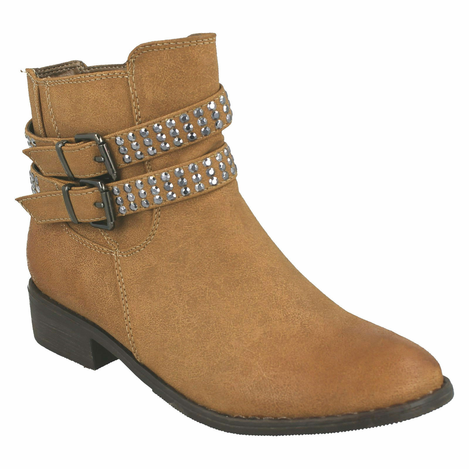 £19.99 SALE LADIES SPOT ON STUDDED BUCKLE STRAP ANKLE BOOTS LT BROWN F50182 SIZE