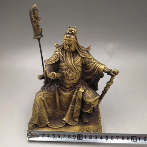 Chinese Antique copper handmade Wealth Guan Gong Statues Home decoration