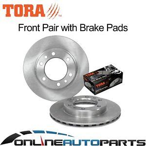2-Front-Disc-Brake-Rotors-Pads-suits-Landcruiser-8-80-1-90-4x4-40-60-70-Series