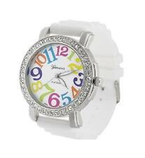 New GENEVA Platinum Rainbow Crystal Rhinestone Watch W/Silicone WHT Jelly Band