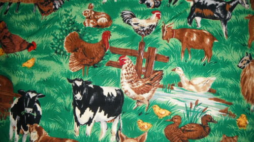 FABRIC FARMYARD ANIMALS FAT QUARTER CRAFTS  QUILTING  CUSHIONS  21X18 INCHES