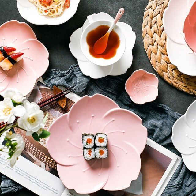 Ceramic Sakura Dinner Set Pink Kitchen Tableware Plates Flower Shape Sauce Dish