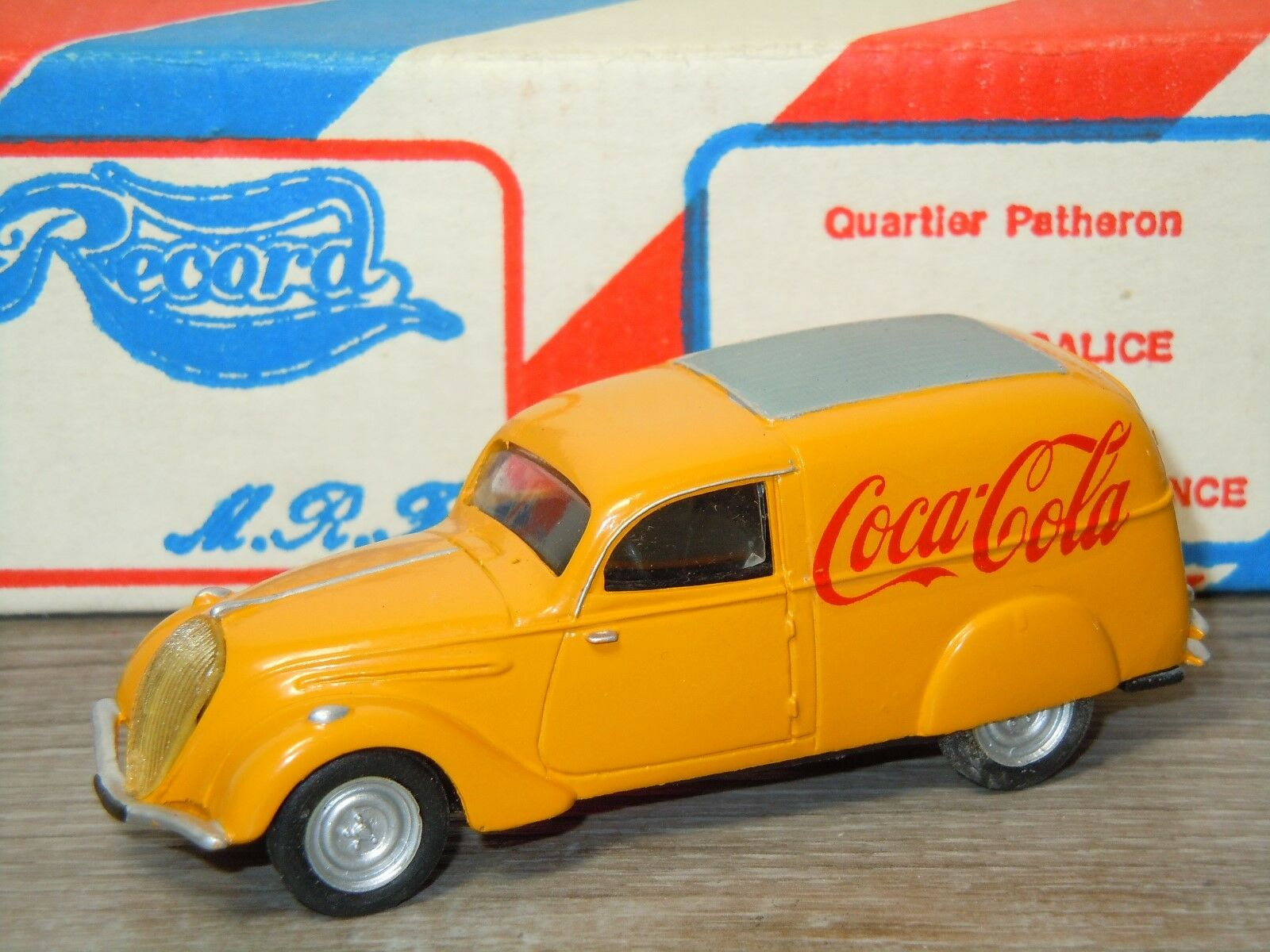 Peugeot 202 Fourgon 1939 Coca Cola van Record Models France 1 43 in Box 26489