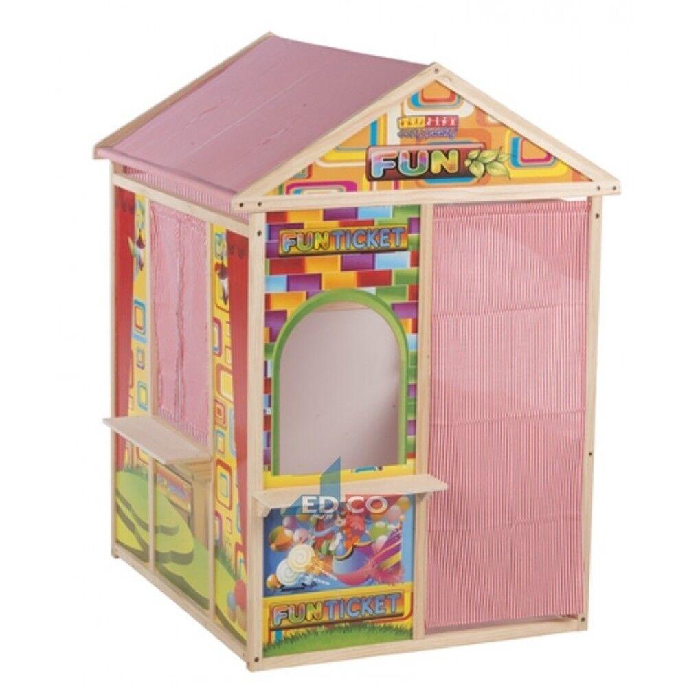 Stabiles Kinderspielhaus mit Schreibtafel aus Holz Kinder Spielhaus Kaufladen