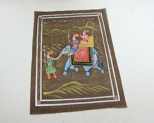 Vintage-Elephant-Painting-On-Silk-Hand-Painted-India-Unframed-King-Riding