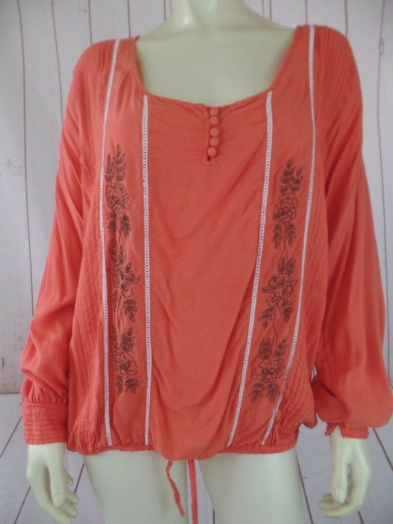 Muche et Muchette Top M L Orange Viscose Elastic Drawstring Waist Pleat Peasant