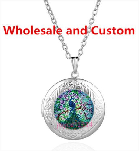 Peacock Cabochon Tibetan Silver Verre Médaillon Collier Pendentif HZ-5710