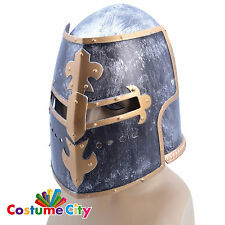 Adults Prop Medieval Knight Helmet Crusader Fancy Dress Costume Accessory