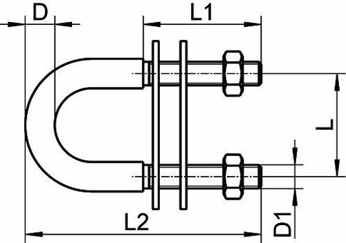 Bolzen U-Bolzen Edelstahl A4   90mm  M10   ARBO-INOX