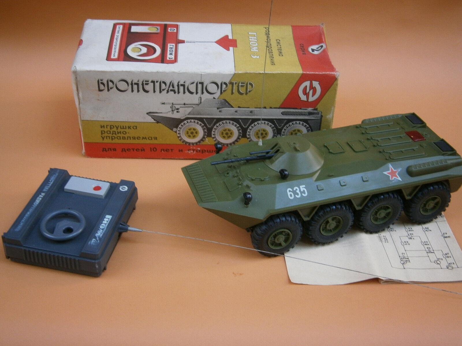 Vintage Rara URSS Armata militare BTR TANK Plastic giocattolo Remote Control scatola