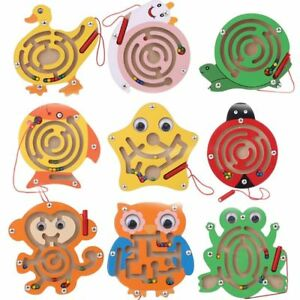 Maze Magnetic Wooden Game Educational Pen Puzzle Kids Toys
