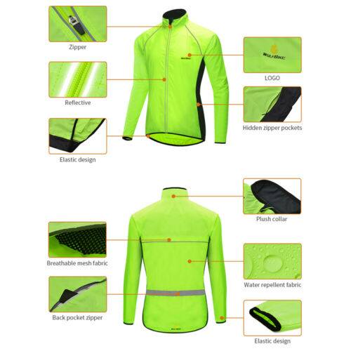 Men/'s Cycling Jacket High Visibility Bike Rain Jacket Waterproof Windproof Coat