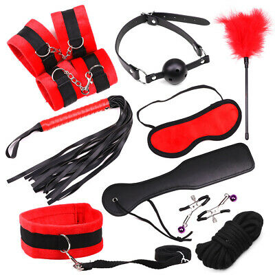 Faithful Adult-sm-tools-set-hand-ankle-cuffs-bondage-whip-rope-neck-bandages-clips 10pcs Be Novel In Design Health & Beauty