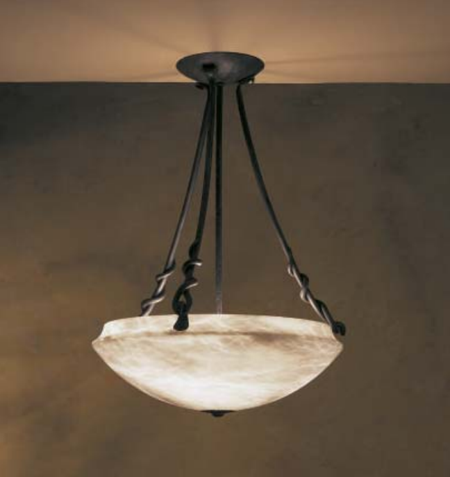 Basic Source Genuine Alabaster 23  Pendant Chandelier with 8ft Wrought Chain