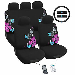 suede flower car seat cover set universal fit ebay. Black Bedroom Furniture Sets. Home Design Ideas