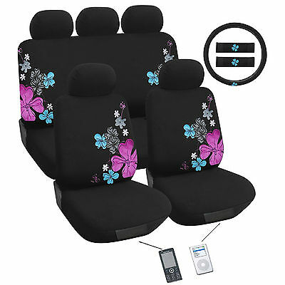 Suede Flower Car Seat Cover Set Universal Fit
