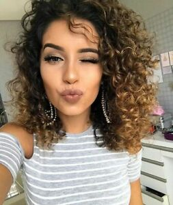 Synthetic-Short-Kinky-Curly-Wig-Black-Afro-Ombre-Brown-Full-Wigs-Dark-Roots-US