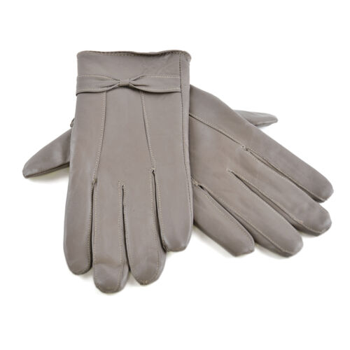 Ladies Women Real Leather Gloves lining Driving Winter Grey Small Medium Size