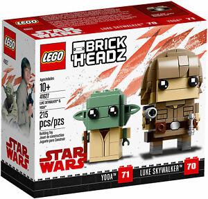 LEGO-BRICKHEADZ-41627-STAR-WARS-Yoda-amp-Luke-Skywalker-JEDI-RITIRATO-NUOVO-NEW