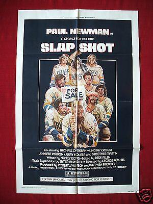SLAP SHOT * 1977 ORIGINAL MOVIE POSTER 1SH PAUL NEWMAN HANSON BROTHERS HOCKEY NM