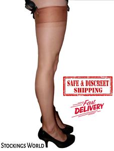 Fully Fashioned No Seam Stockings Non Stretch Retro 5 Denier Copper Med 9.5-10