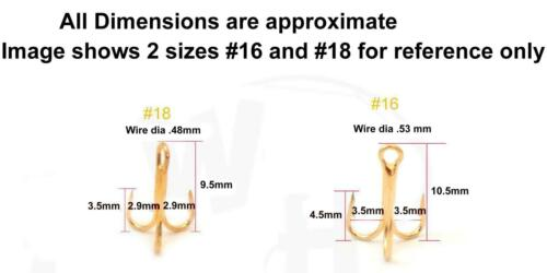 98-101 pcs Gold size #18 Treble Hooks small standard round bend Bait powerbait