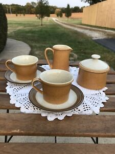 PREMIERE DURASTONE ORANGE P9200/SPICE P9205 Creamer Sugar Bowl Two Cups/Saucers
