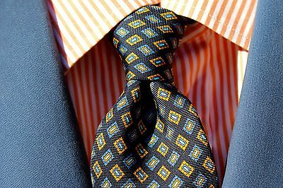Brooks Bros Makers Blue & Orange All Silk Big & Tall Necktie Italy / USA