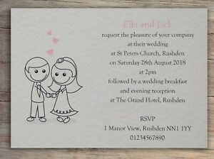 50-Wedding-Invitations-Day-Evening-Invites-Personalised-with-Envelopes
